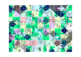 green and pink geometric square pixel pattern