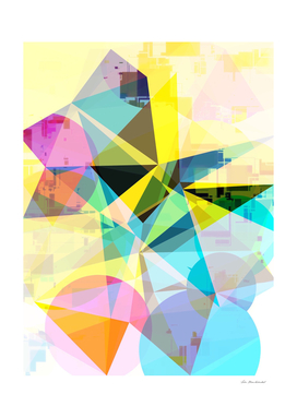 colorful geometric triangle and circle shape abstract