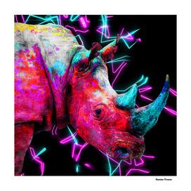 Rhinoceros Animals Nature - Colored Neon Electric