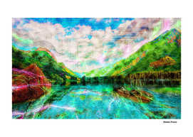 Landscapes Mountains Lake - Colored