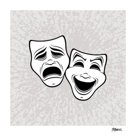 Comedy And Tragedy Theater Masks Black Line