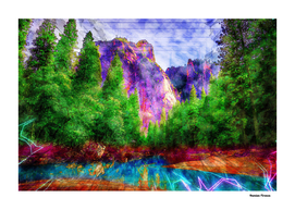 Landscapes Mountains River Nature - Colored