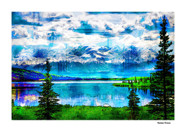 Landscapes Mountains Lake Nature - Colored