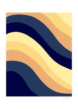 Navy Blue Yellow Orange Retro Summer Wave #1