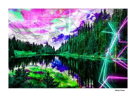Landscapes Lake Nature - Colored Neon
