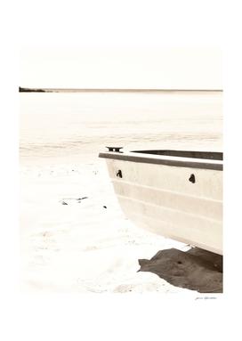 Minimalist beach boat nautical