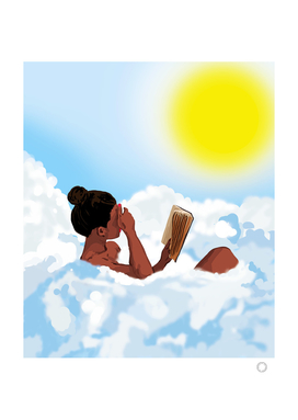 Reading on Clouds, Black Woman Summer Sunny Day Book