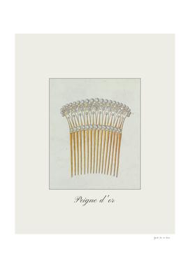 Peigne d'or - Vintage jewelry, boho fashion print