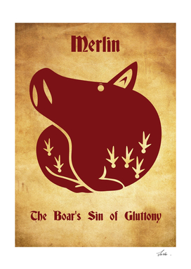 Merlin Boar's Sin of Gluttony tattoo symbol