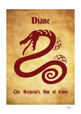 Diane Serpent's Sin of Envy tattoo symbol