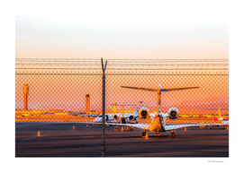 Airplane at Las Vegas airport USA with sunset sky
