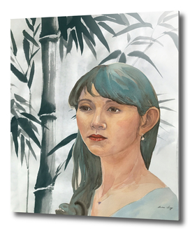 Japanese woman with bamboo