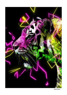 Tiger Animals Nature - Colored Neon