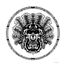 Aztec Warrior Head Circle