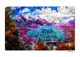 Landscapes Painting Mountain Snow - Colored Nature