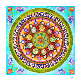 Chakra Mandala, Ayurveda Yoga Aum, Eclectic Colorful