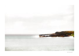 foggy and calm beach view at Kauai, Hawaii, USA