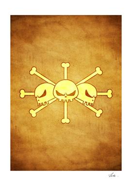 One piece kurohige pirates jolly roger flag symbol logo