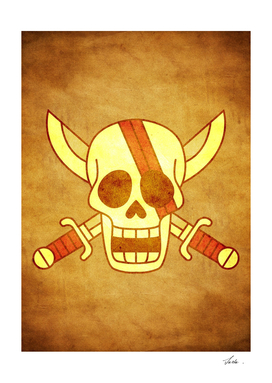 One piece akagami pirates jolly roger flag symbol logo