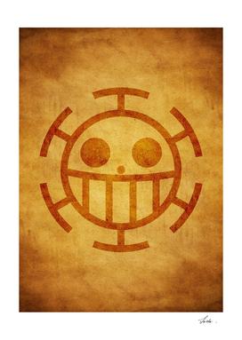 One piece heart pirates jolly roger flag symbol logo