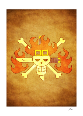One piece kid pirates jolly roger flag symbol logo