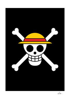 One piece  mugiwara pirates jolly roger flag symbol logo