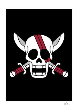 One piece akagami pirates jolly roger flag symbol logo
