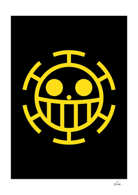 One piece heart pirates jolly roger flag symbol logo