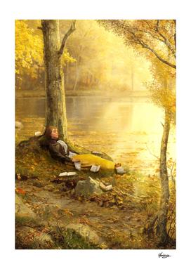 Reading Under a Golden Sun