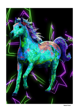 Horse Animals Nature - Colored Painting Drawing Neon