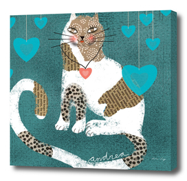 Catlovers with blue hearts