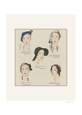The hats - fashion vintage historical Art Deco print
