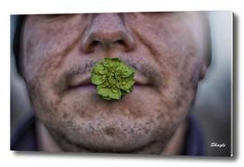 Men holdig flower in mouth