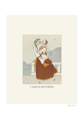L'amour maternel - Historical Vintage Art Deco print