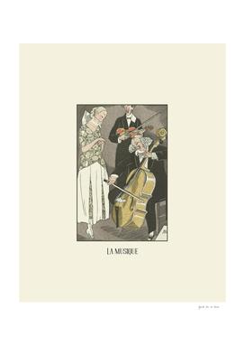 La musique - Historical, vintage Art Deco fashion print