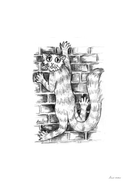 Cat Climbing Brick Wall