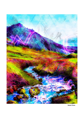 Mountain Landscapes retro style river colored green blue