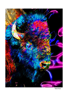 Buffalo Bison animals nature - colored painting neon
