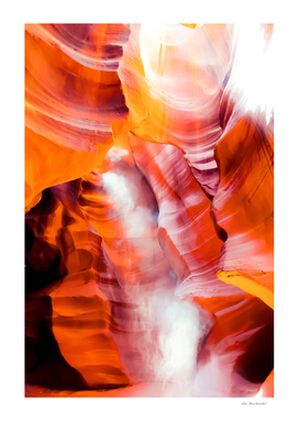 sunlight in the sandstone cave desert at Antelope Canyon