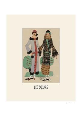 Les soeurs - Historical Art Deco Fashion Print