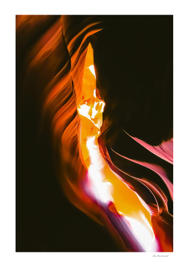light in the sandstone cave abstract at Antelope Canyon