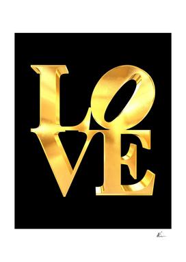 3D Love Sign Gold   Pop Art