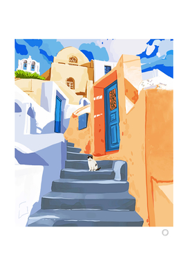 Cat in Greece, Architecture Tropical Exotic Travel