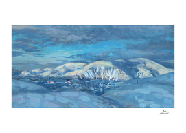 Khibiny Mountains, Winter Landscape in Blue Shades
