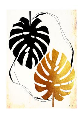 Black and golden monstera leaf mama art