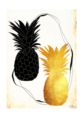 Black and golden pineapple mama art