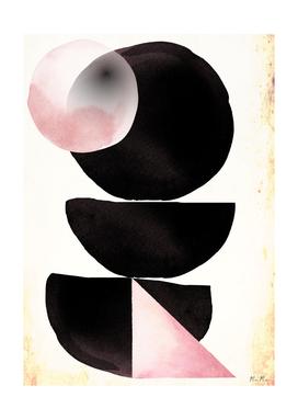 Black pink geometric abstract mama art