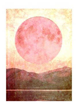 Minimalist moon mountain mama art