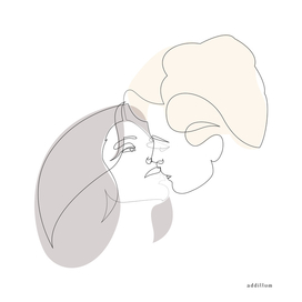 MD kiss - one line art