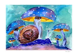 Blue Mushrooms and Purple Snail